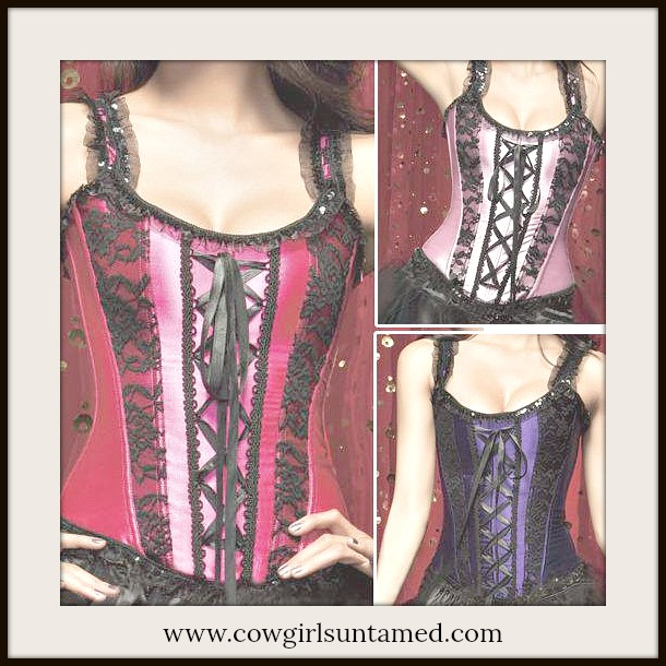 CORSET - Black Lace N Satin with Ruffle Detail Lace Up Back Corset