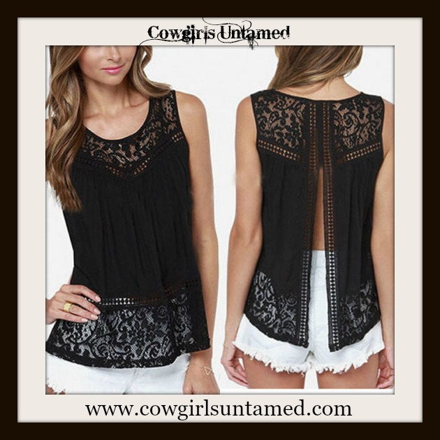 COWGIRL GYPSY TOP Black Slit Back Lace Sleeveless Blouse Boho Top