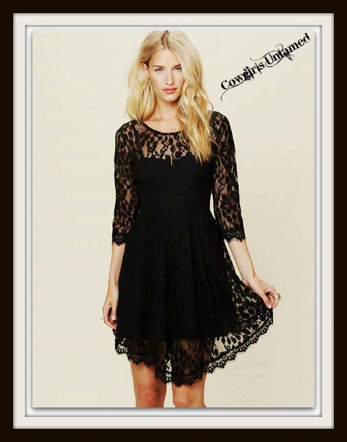 COWGIRL GYPSY DRESS Black Lace Hi Lo Hemline 3/4 Sleeve Mini Dress with FREE SLIP