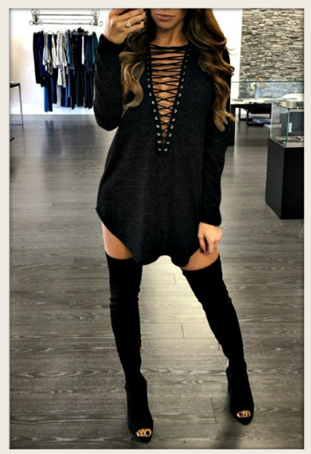 COWGIRLS ROCK DRESS Black Deep V Lace Up High Neckline Black Tunic Top/ Mini Dress
