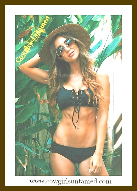 RODEO REBEL BIKINI Black Lace Up Front and Side Strappy Back Bikini