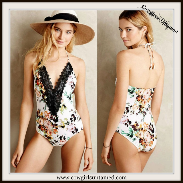 WILDFLOWER SWIMSUIT Black Lace Deep V Neckline on Floral One Piece Swimsuit