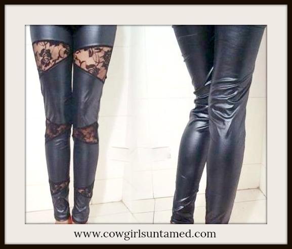 159d472488fc3 COWGIRL ROCKER Black Leather N Lace Western Leggings, black, lace ...