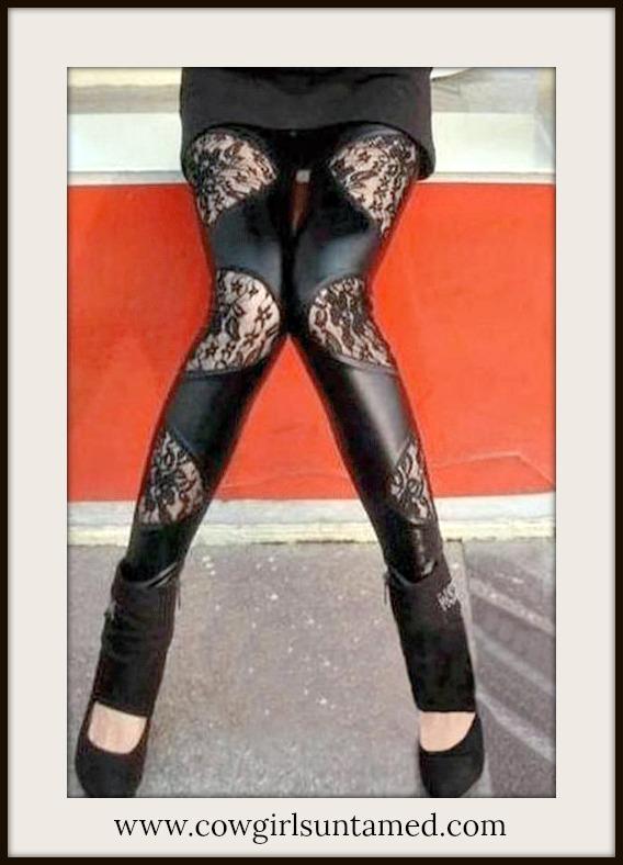 COWGIRLS ROCK LEGGINGS Black Leather N Lace Western Leggings