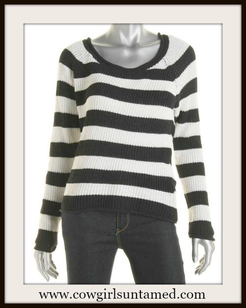 DESIGNER SWEATER Black & Off White Striped Designer Sweater