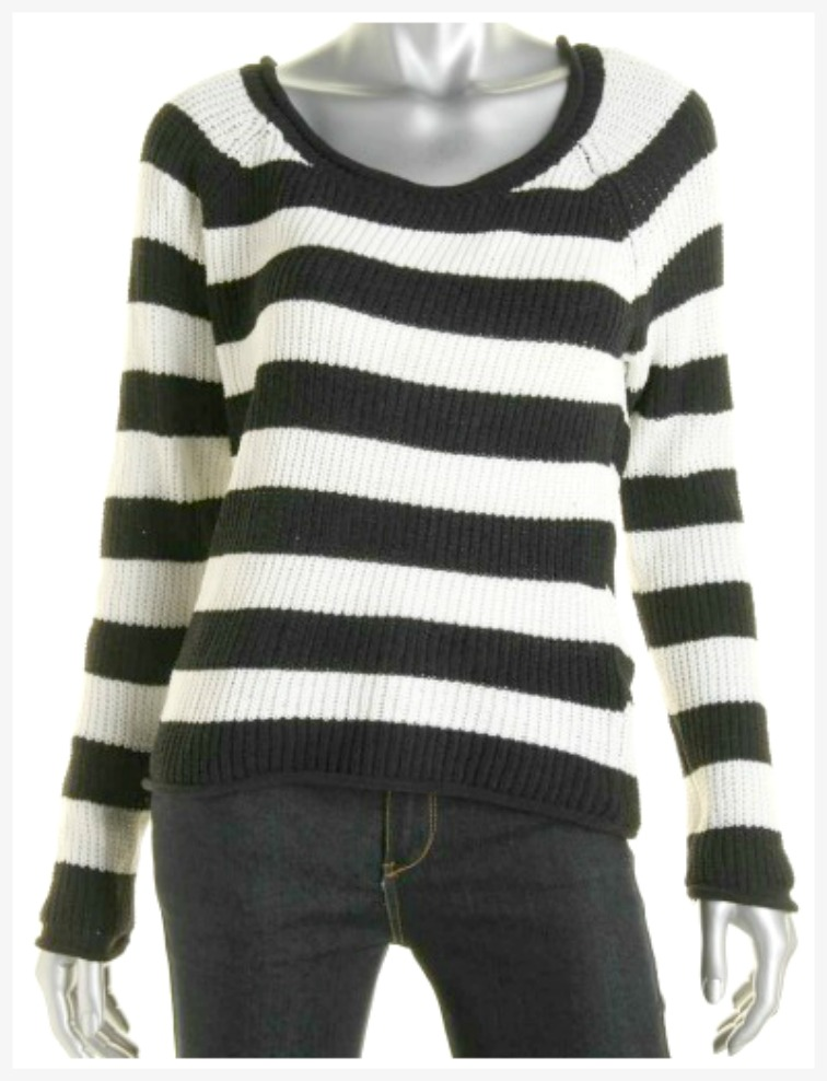 HEART N CRUSH SWEATER Black & Off White Striped Designer Sweater LAST ONES L or XL