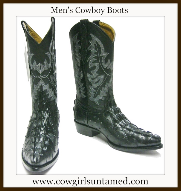 COWBOY BOOTS Mens Embroidered Black GENUINE LEATHER Ostrich & Crocodile Tail Western Boots