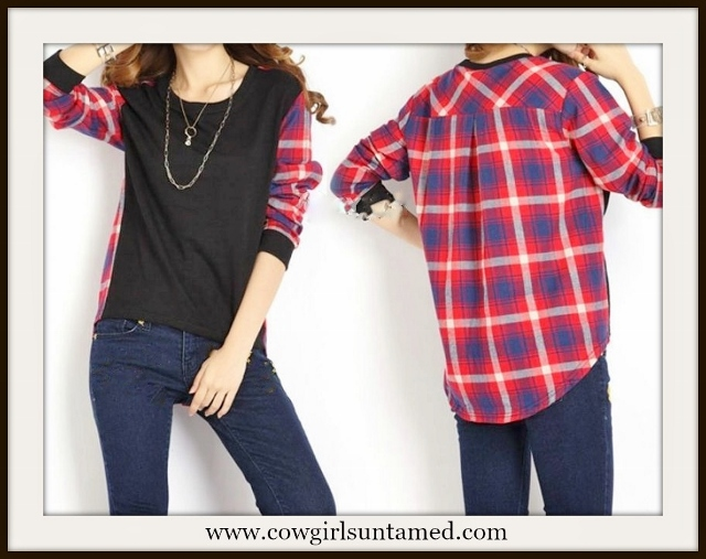 COWGIRL STYLE TOP Plaid N Black Long Sleeve Hi Lo Hemline Western T- Shirt Top