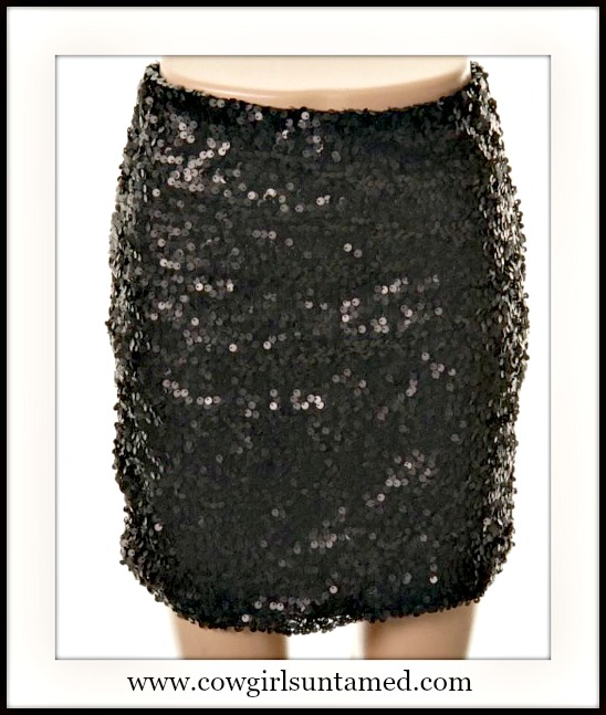 DESIGNER SKIRT Black Sequin Stretchy Lined Designer Mini Skirt