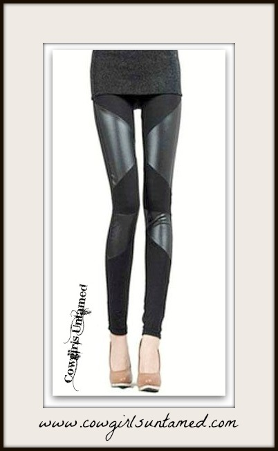 COWGIRLS ROCK LEGGINGS Black Sexy Stretchy Faux Leather and Cotton Striped Leggings Pants