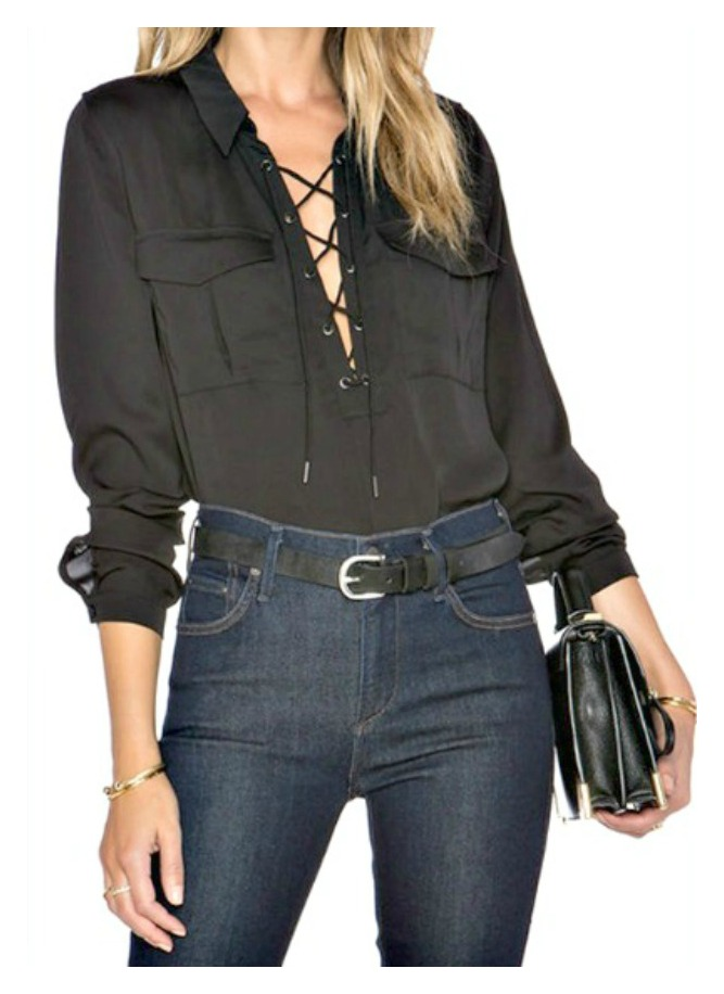 THE ARYA TOP Black Silky Long Sleeve Lace Up Neckline Blouse