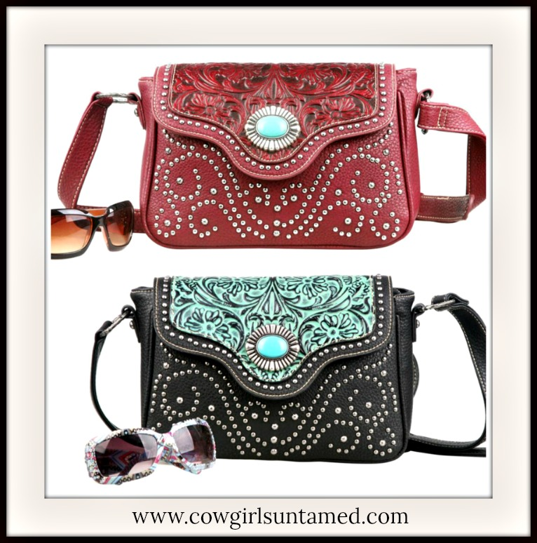COWGIRL STYLE MESSENGER BAG Studded Floral Tooled Concho Leather Western Messenger Bag