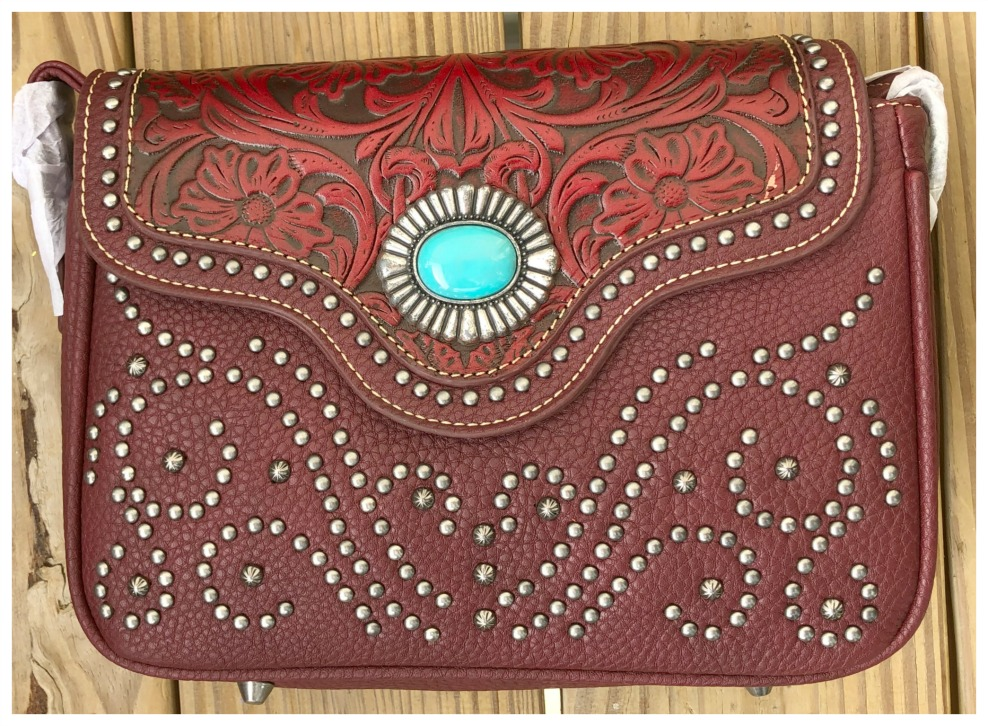 TRINITY RANCH MESSENGER BAG Studded Floral Tooled Concho Genuine Leather Red Western Messenger Bag LAST ONE