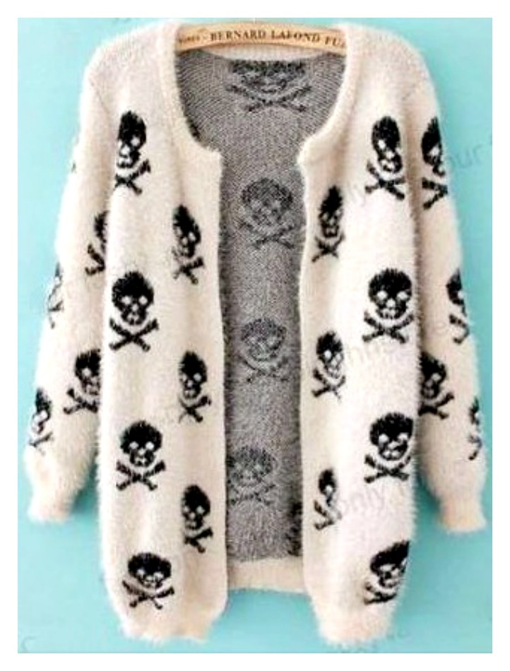 COWGIRL GYPSY SWEATER Black Skull N Crossbones on White Fluffy Open Cardigan LAST ONE!
