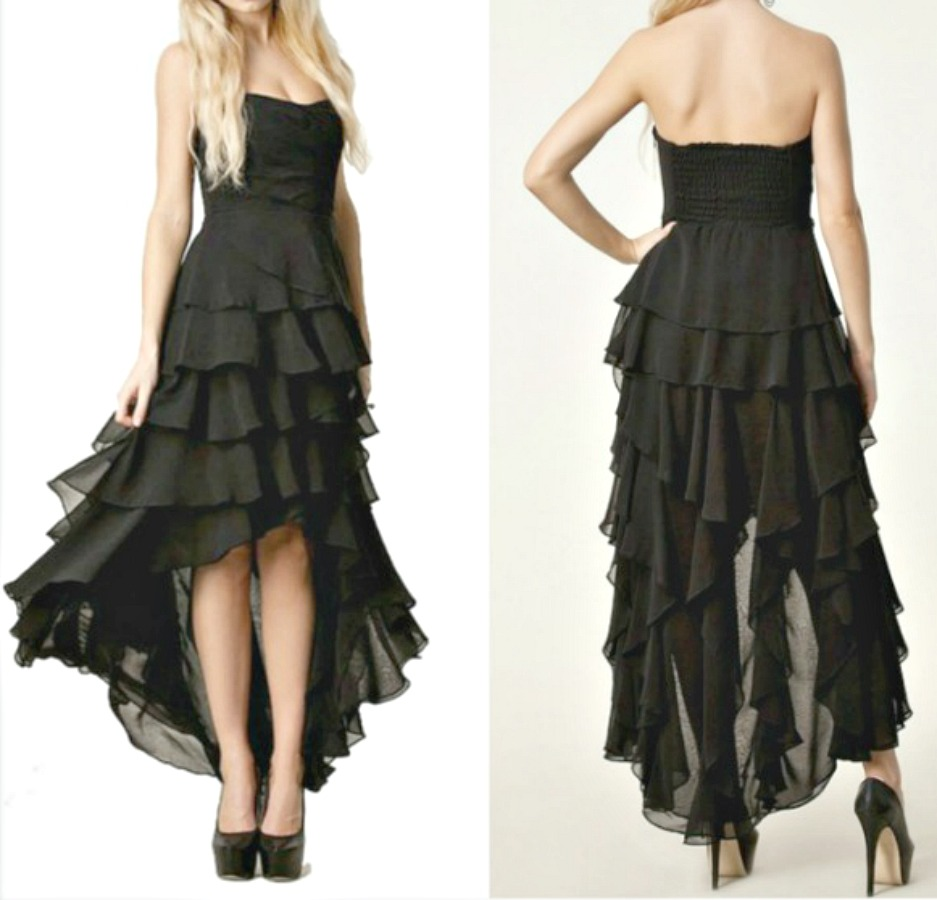 COWGIRL GYPSY DRESS Black Chiffon Strapless Chiffon Tiered Party Dress  LAST ONE  S/M