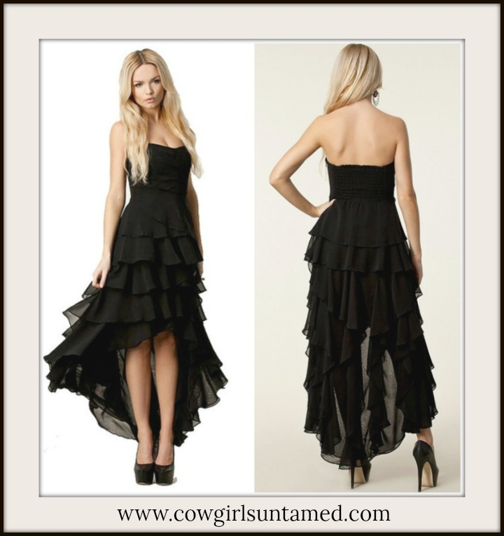 COWGIRL GYPSY DRESS Black Chiffon Strapless Chiffon Tiered Party Dress