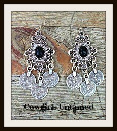 COWGIRL GYPSY EARRINGS Black on Antique Silver Filigree and Etched Coin Charm Earrings