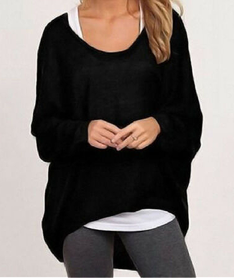 THE ALIYAH SWEATER SET Black Long Sleeve Womens Oversized Scoop Neck Pullover Sweater with White Racerback Tank Top Set
