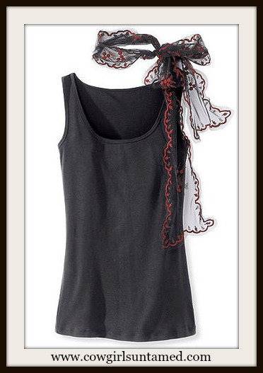 COWGIRL GYPSY TANK TOP Black N Red Lace Scarf Bow on Black Boho Tank Top