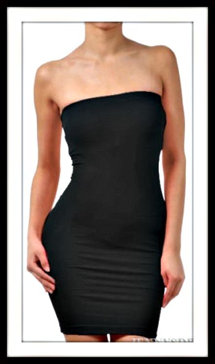 FULL SLIP Black Seamless Strapless SPANX LIKE Tube Slip