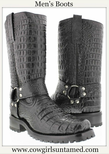 COWBOY BOOTS Mens Black Crocodile Leather Western Biker Boot with Harness Sizes 6.5 - 14