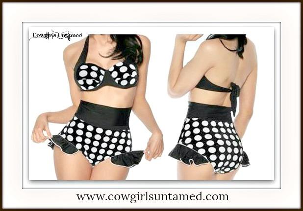 COWGIRL PINUP BIKINI Retro High Waist & Ruffle Polka Dot Halter Bikini