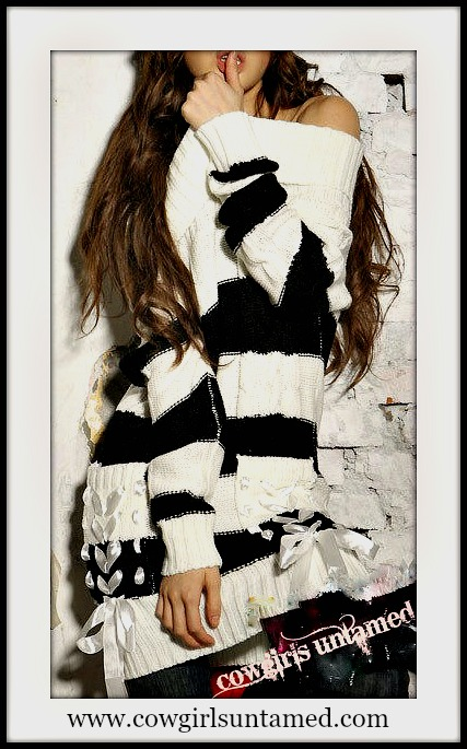 COWGIRL STYLE SWEATER Black N' White Striped Off the Shoulder Ribbon Lace Up Accent Western Sweater