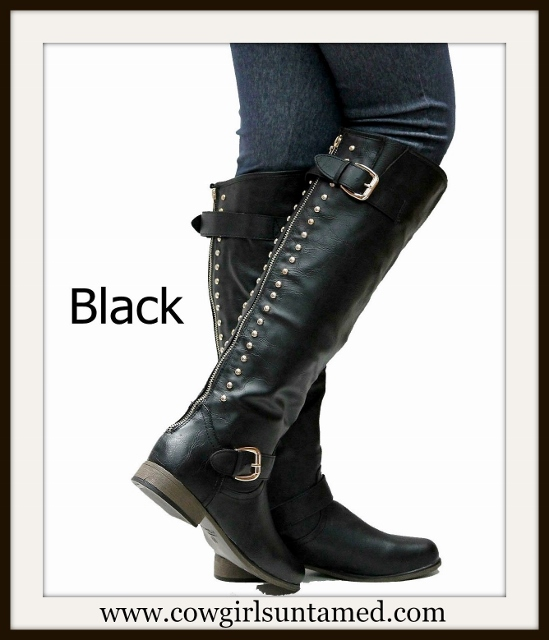 COWGIRL STYLE BOOTS Black Studded Buckle Accent Back Zipper Leather Western Riding Boots