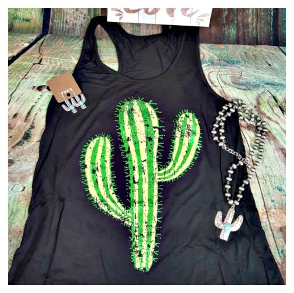 THE CACTI TOP Green Desert Cactus on Black Racerback Oversized  Tank Top