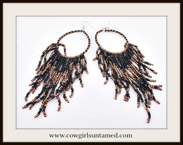 BOHEMIAN COWGIRL EARRINGS Black & Copper Fringe Hoop Earrings