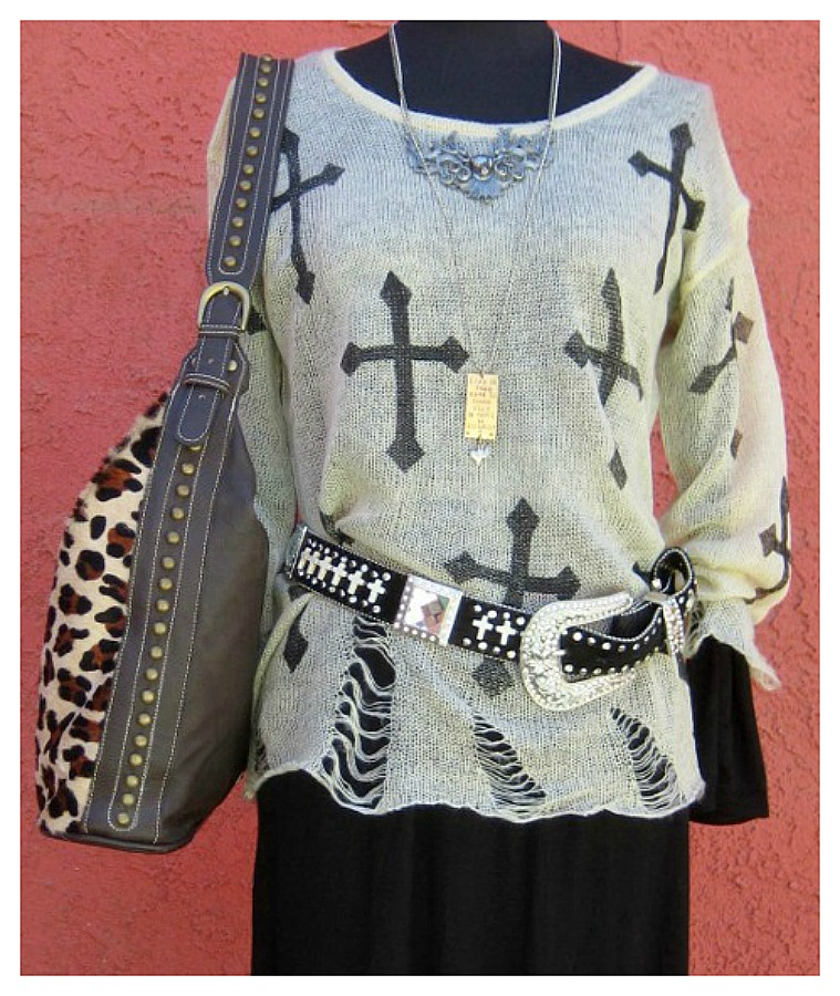 COWGIRL GYPSY SWEATER Light Weight Cross Distressed Western Sweater