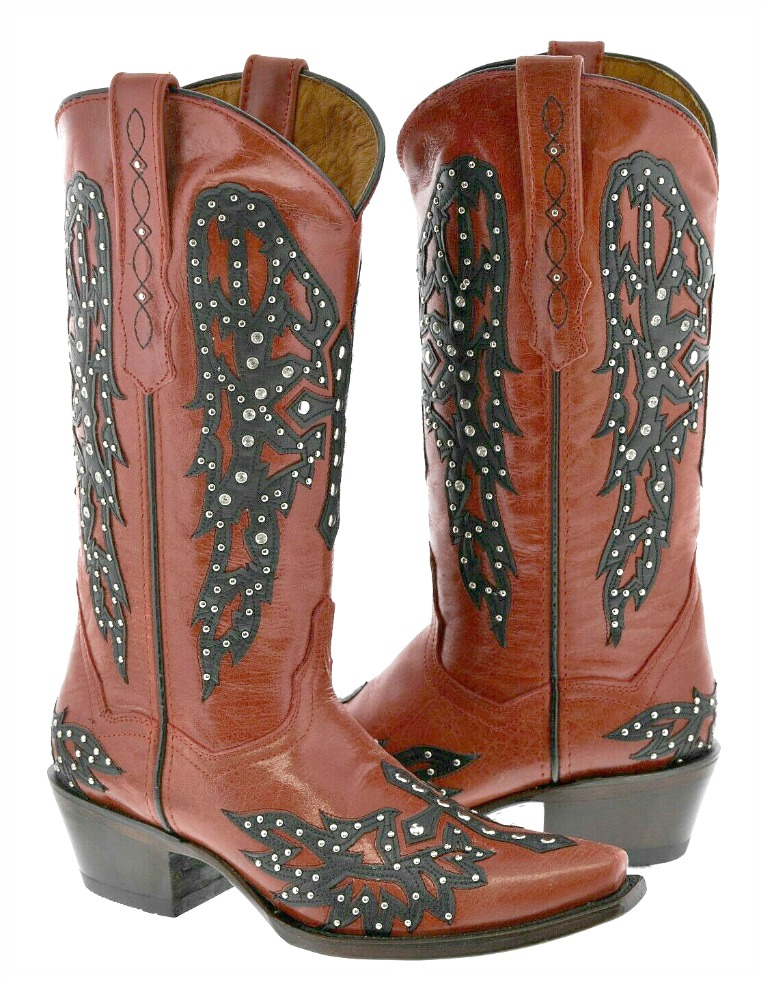 GOLDEN GUNS BOOTS Black Crystal Studded Cross Angel Wings Red Genuine Leather Western Boots Sizes 6,7,8