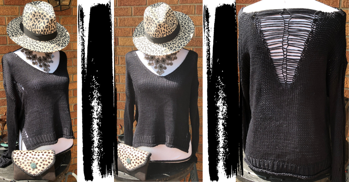 THE MIRACLE SWEATER Deconstructed Distressed Long Sleeve V Neck Cropped Oversized Black Sweater LAST ONE!
