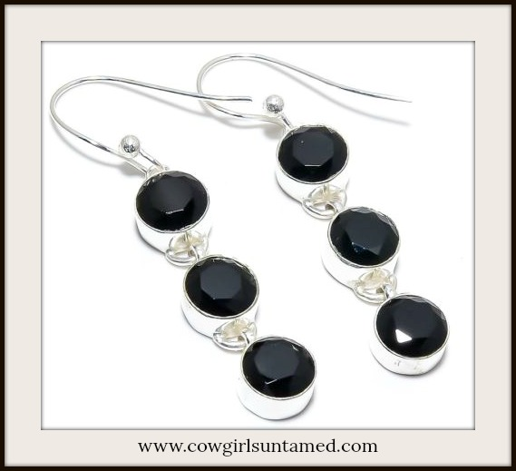 BOHEMIAN COWGIRL EARRINGS Black Brazilian Onyx 925 SS Earrings