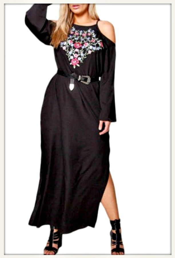 Floral Embroidery Cold Shoulder Long Sleeve Black Maxi