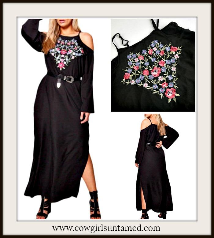 Floral Embroidery Cold Shoulder Long Sleeve Black Maxi Dress PLUS SIZE,  plus size, maxi dress, dress, long dress, embroidery, embroidered, floral,  ...
