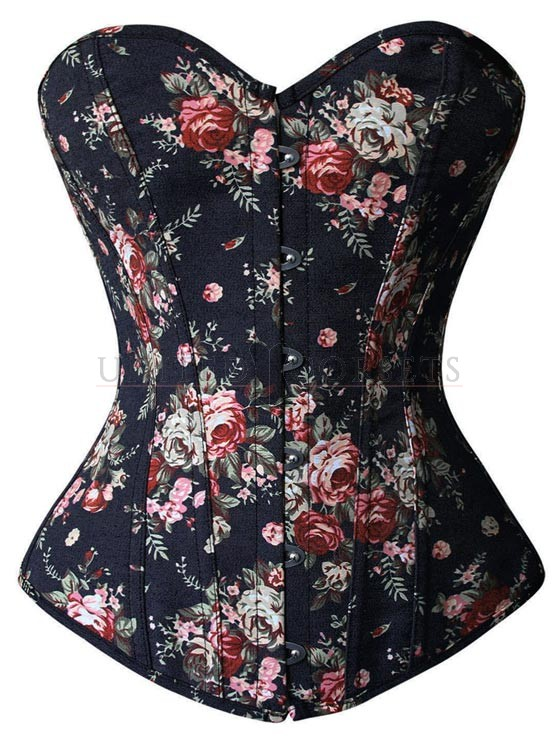 CORSET - Black Pink Burgundy Rose Floral Denim Lace Up Back Strapless Womens Corset Top LAST ONE L