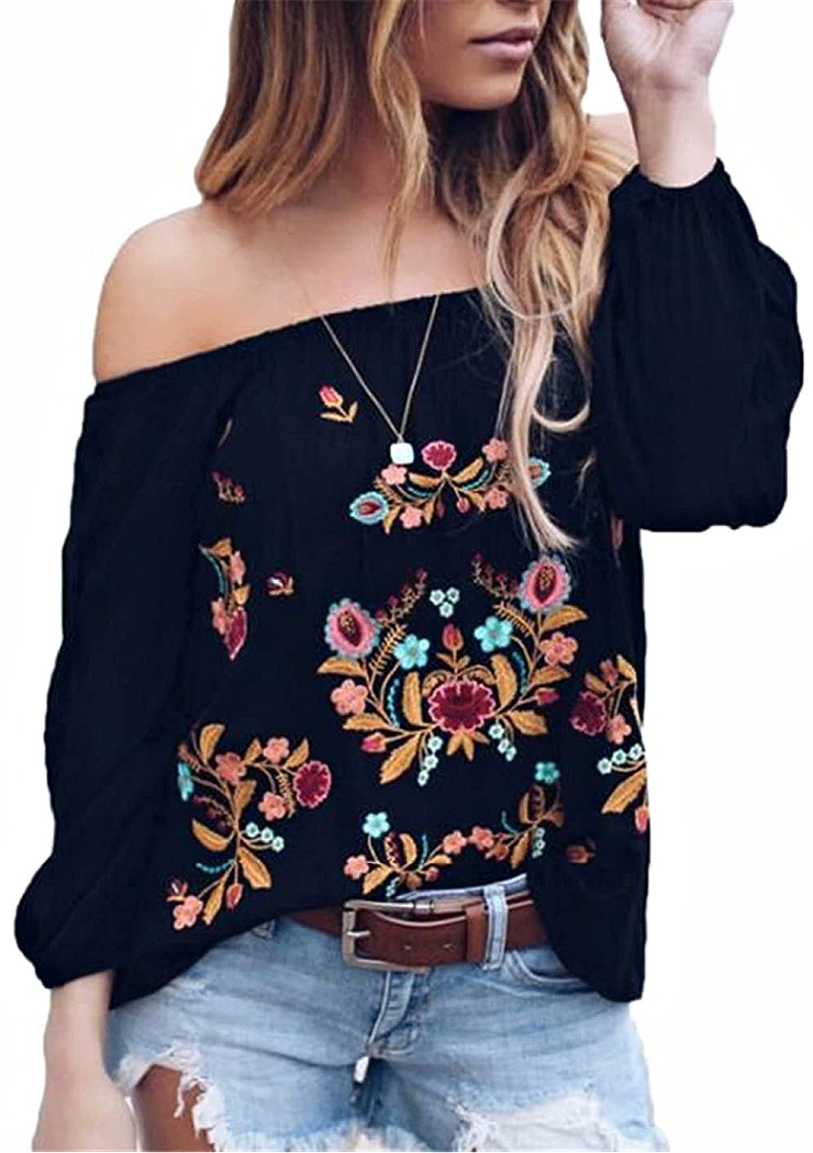 BOHEMIAN COWGIRL TOP Multi Color Off the Shoulder Long Sleeve Loose Fit Boho Western Blouse