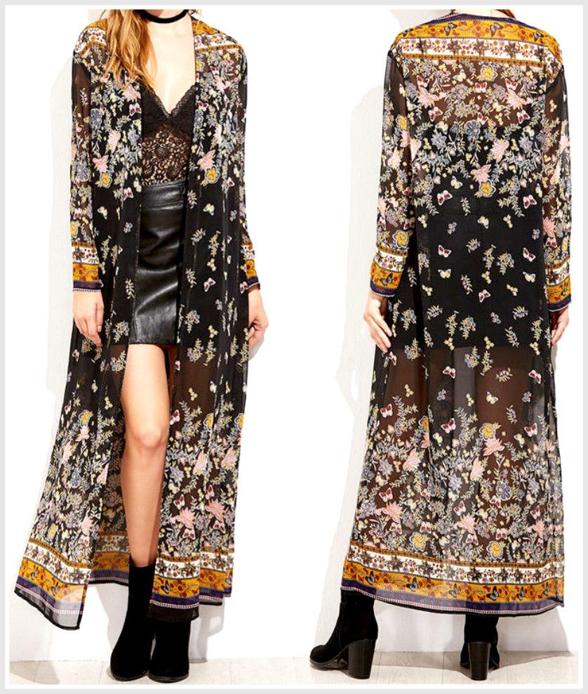 VINTAGE BOHEMIAN KIMONO Yellow & Blue Floral Mixed Pattern Long Black Casual Chiffon Kimono