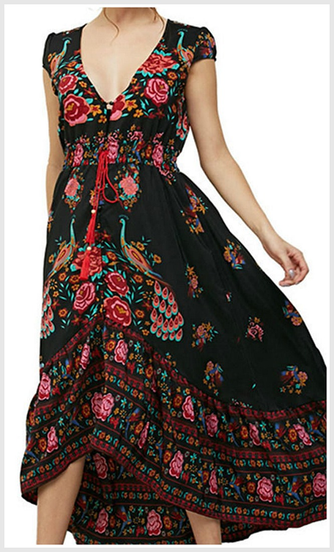 THE JOLENE DRESS Pink & Red Floral Black Boho Cap Sleeve Midi Dress ONLY 2 LEFT S/M