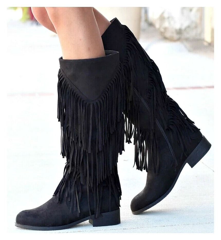 COWGIRL GYPSY BOOTS Black Fringe Faux Suede Riding Boots