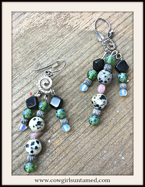 BOHEMIAN COWGIRL EARRINGS Multi Color Gemstone Charm Sterling Silver Boho Earrings