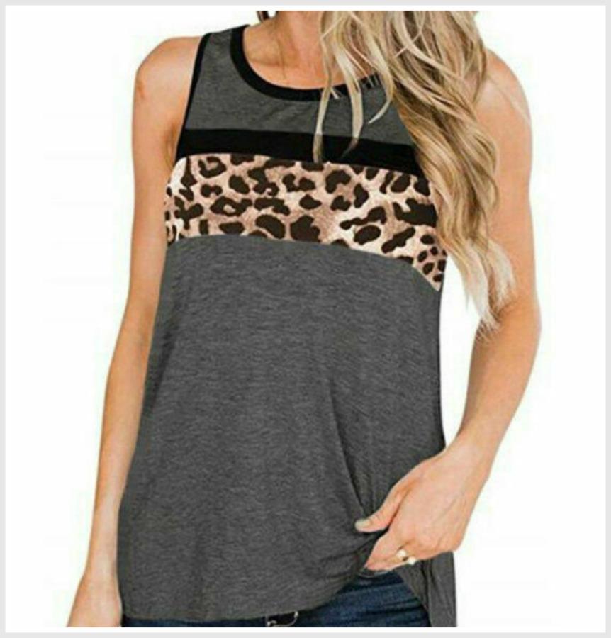 IN THE WILD TANK TOP Black & Grey Stripe Brown Leopard Sleeveless Womens Tank Top S-XL