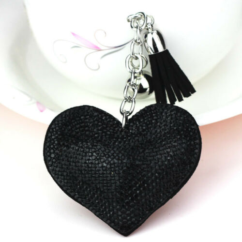 KEY TO MY HEART KEY RING Black Crystal Pouf Heart & Leather Tassel Silver Key Chain 2 LEFT!