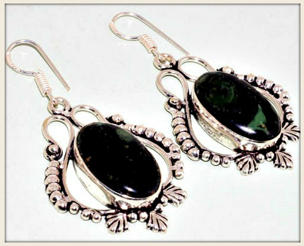COWGIRL GYPSY EARRINGS Black Jasper Sterling Silver Earrings