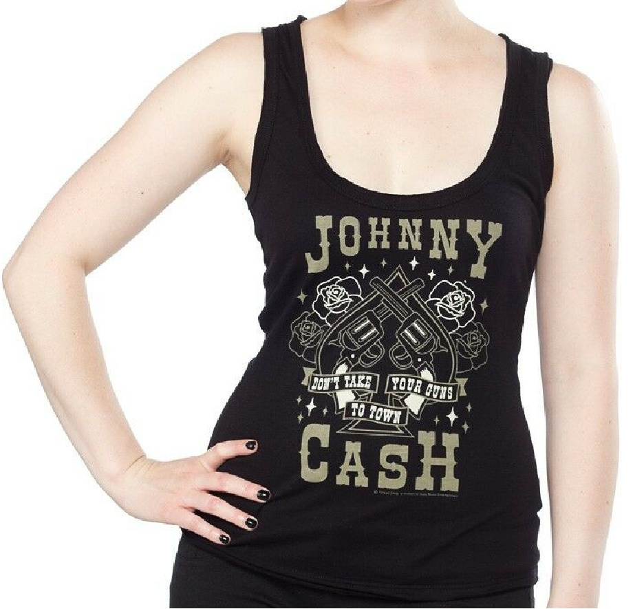 """MAN IN BLACK TOP Tan """"Johnny cash Don't Take Your Guns to Town"""" Black Womens Tank Top LAST ONE M"""
