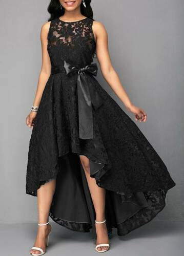 THE MARA DRESS Sleeveless Black Lace Sheer Back Tie Waist High Low Hemline Party Dress ONLY M, L, XL left!