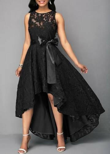THE MARA DRESS Sleeveless Black Lace Sheer Back Tie Waist High Low Hemline Party Dress S-5X