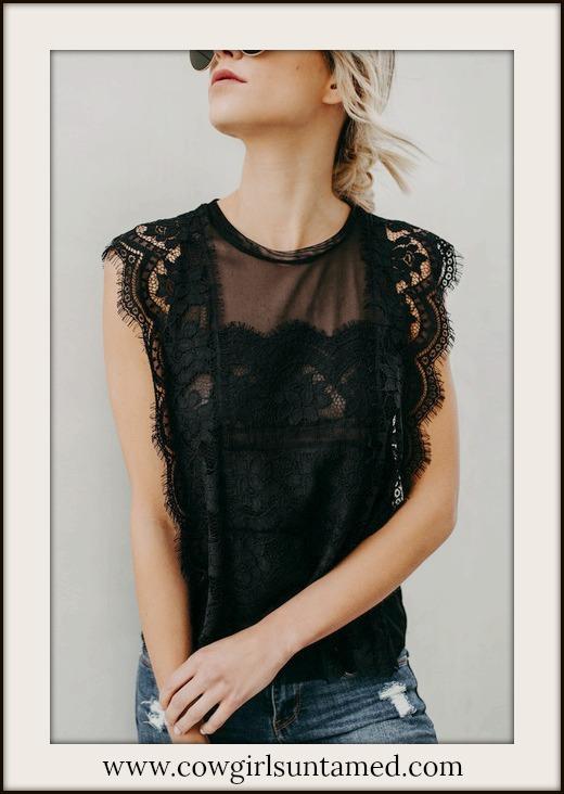 VINTAGE BOHEMIAN TOP Black Scalloped Lace Sleeveless Blouse