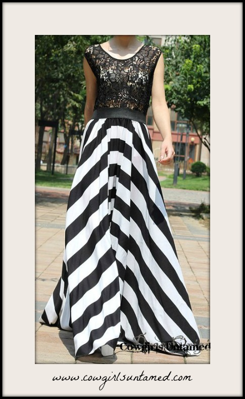WILDFLOWER DRESS Black and White Stripe Skirt Black Lace Top Maxi Dress
